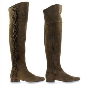 "Saint Laurent NEW Suede ""Babies"" Thigh High Boots"